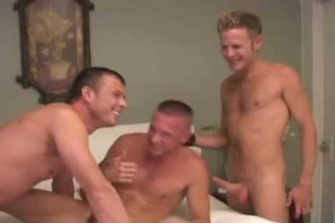 Three hunks in an intense pound fest