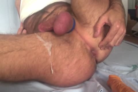 Showing My Freshly shaved Balls And aperture whilst Playing With My anal Beads And 8-inch dildo. Great sperm shot All Over My bushy Legs At The End