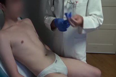 skinny Japanese man Examined, bald And Deflowered On The Doctors Examination Table. humongous ejaculation.