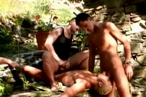homosexual weenies amazing three-some banging outdoors