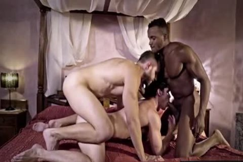 gigantic cock gay threesome And semen flow