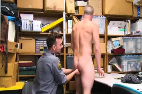 Shoplifting stud Takes ramrod Up His booty And Down His throat