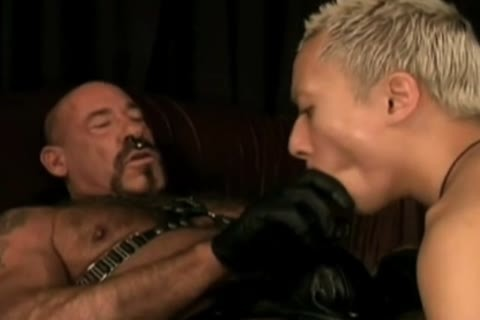 depraved Leather daddy Subdues pussy twink