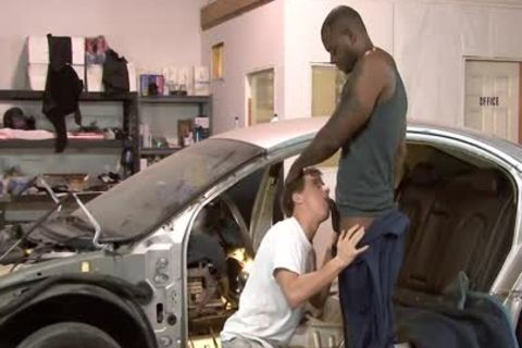 White homo Mechanic acquires dark drilled At Work