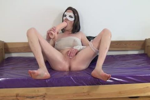 #three-Crossdresser poke Oiled ass With massive sex-toy -anal, Sissy