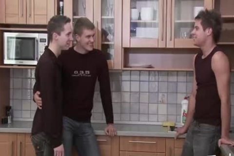 teen twink MEDIA Pissing teen Kitchen three-some