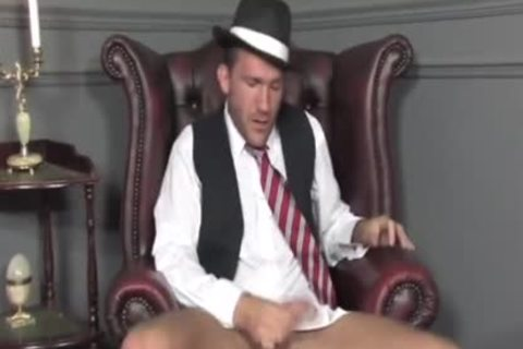 Suited lad Cums On His Socks