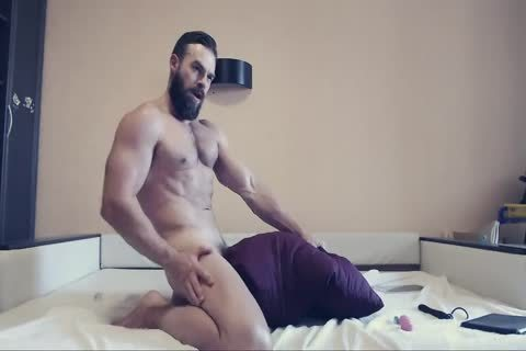 Bearded man On cam Using A fake penis Part 1